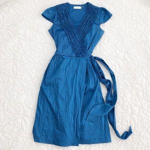 Calvin Klein Dresses - Calvin Klein Blue Ruffle Cap Sleeve Wrap Dress 2